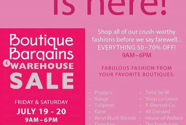 Boutique Bargains Warehouse Sale 7/19